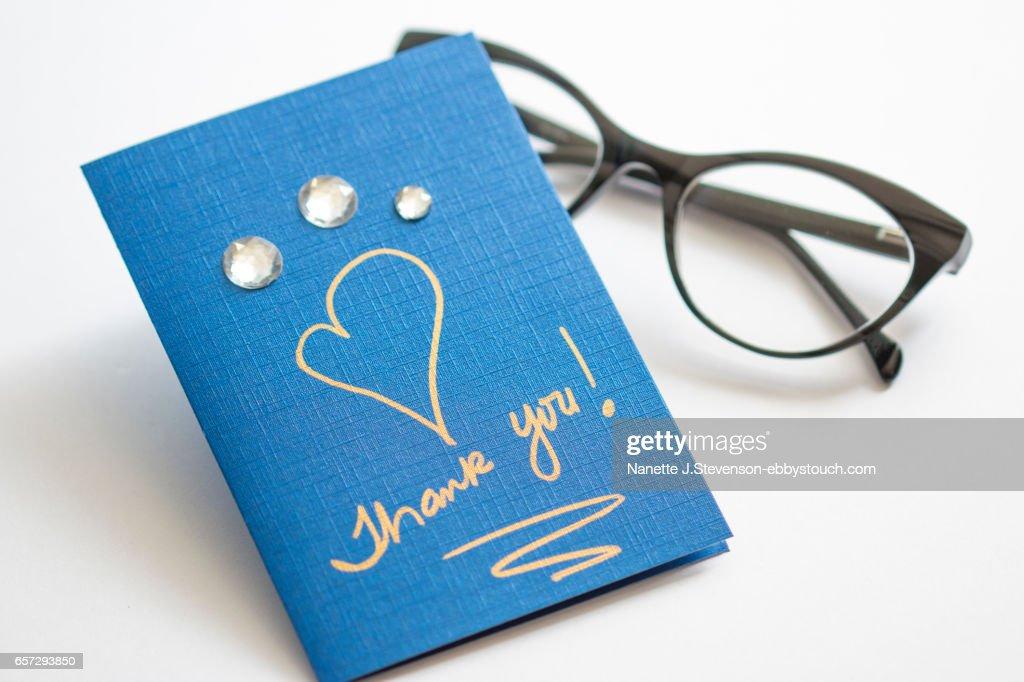 handwritten thank you card : Stock Photo
