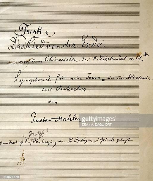 Handwritten title page of the score for Das Lied von der Erde 19081909 by Gustav Mahler Vienna Gesellschaft Der Musikfreunde