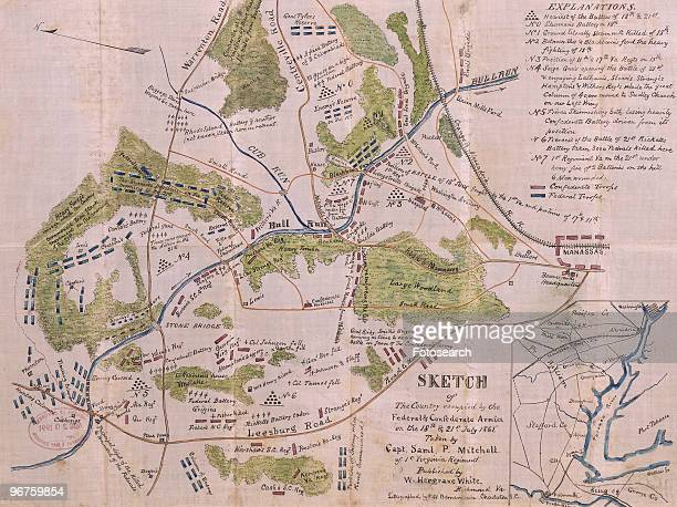 Handwrought copy of a lithograph based on sketches made by Captain Samuel P Mitchell of the 1st Virginia Regiment details troop movements and...