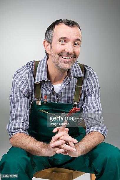 Handyman smiling