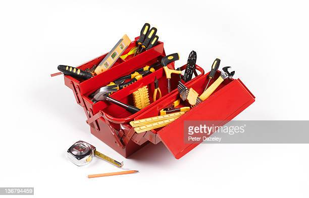handyman's toolbox - toolbox stock photos and pictures