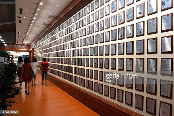 Hanergy Holding Group's patents are displayed at the headquarters of Hanergy Holding Group Ltd on May 22 2015 in Beijing China Hanergy Holding Group...