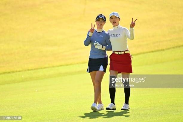 Ha-Neul Kim and Chae-young Yoon of South Korea pose on the 8th hole during the final round of the Ito-En Ladies Golf Tournament at the Great Island...