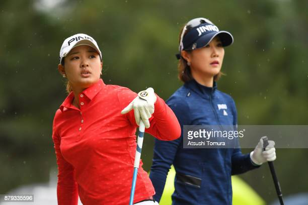HaNeul Kim of South Korea and Ai Suzuki of Japan look on during the final round of the LPGA Tour Championship Ricoh Cup 2017 at the Miyazaki Country...