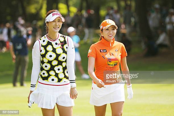 HaNeul Kim of South Korea and BoMee Lee of South Korea smile during the second round of the HokennoMadoguchi Ladies at the Fukuoka Country Club...