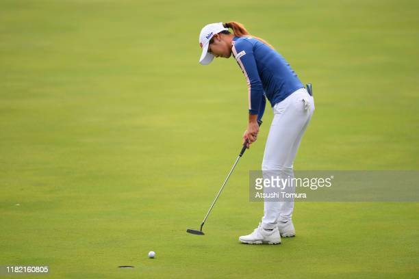 HaNeul Kim of South Korea attempts a putt on the 1st green during the final round of Fujitsu Ladies at Tokyu Seven Hundred Club on October 20 2019 in...
