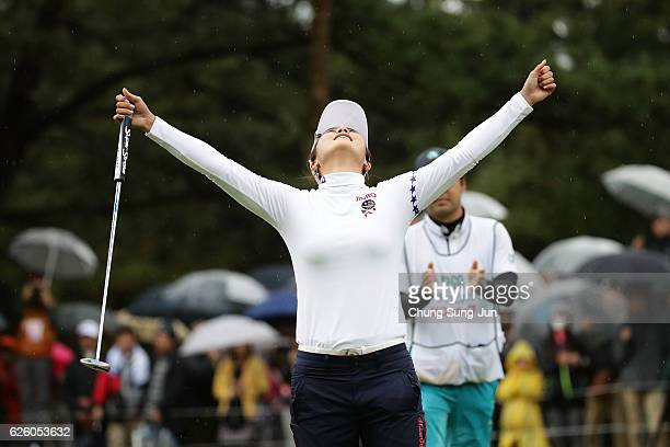 Ha-Neul Kim of South Korea celebrates after a winning putt on the 18th green during the final round of the LPGA Tour Championship Ricoh Cup 2016 at...