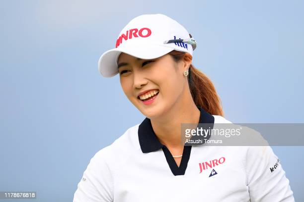 Ha-Neul Kim of South Korea celebrates the birdie on the 17th green during the first round of the Japan Women's Open Championship at Cocopa Resort...