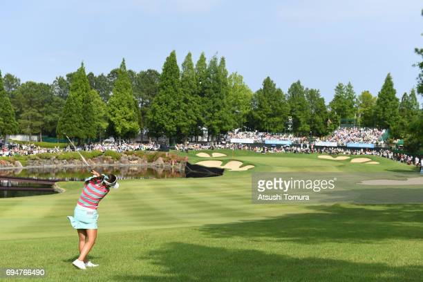 HaNeul Kim of South Korea hits her second shot on the 18th hole during the final day of the Suntory Ladies Open at the Rokko Kokusai Golf Club on...