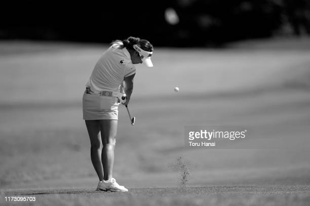 Ha-Neul Kim of South Korea hits her second shot on the 4th hole during the final round of the Golf5 Ladies Tournament at Golf5 Country Sunny Field on...