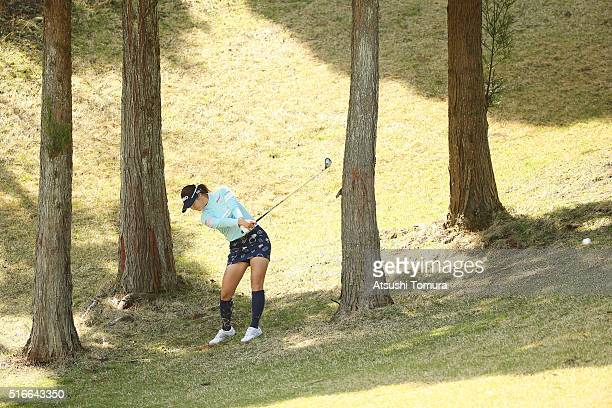 Ha-Neul Kim of South Korea hits her second shot on the 7th hole during the T-Point Ladies Golf Tournament at the Wakagi Golf Club on March 20, 2016...