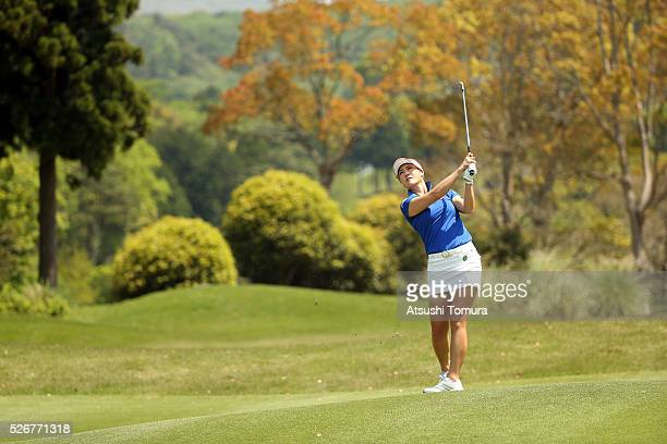 HaNeul Kim of South Korea hits her third shot on the 5th hole during the final round of the CyberAgent Ladies Golf Tournament at the Grand Fields...