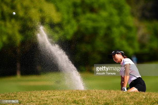 Ha-Neul Kim of South Korea hits out from a bunker on the 8th hole during the second round of the Chukyo TV Bridgestone Ladies Open at Chukyo Golf...