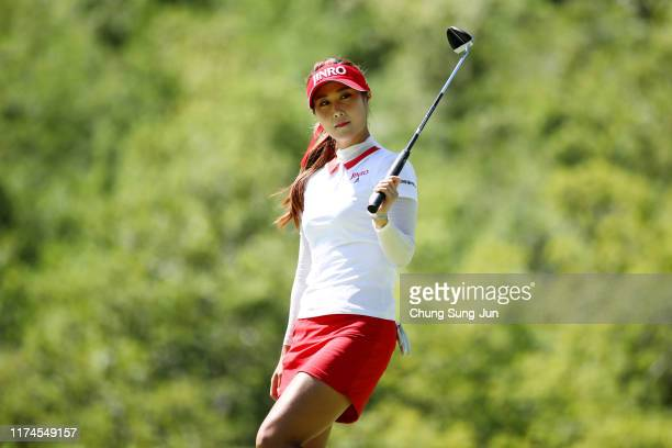 Ha-Neul Kim of South Korea holes the birdie putt on the 2nd green during the third round of the 52nd LPGA Championship Konica Minolta Cup at the...