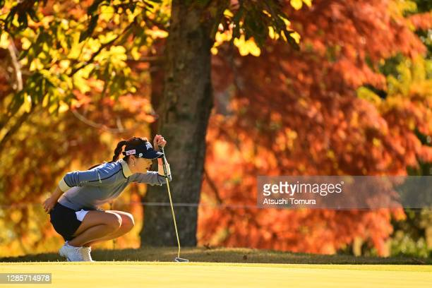 Ha-Neul Kim of South Korea lines up a putt on the 4th green during the final round of the Ito-En Ladies Golf Tournament at the Great Island Club on...