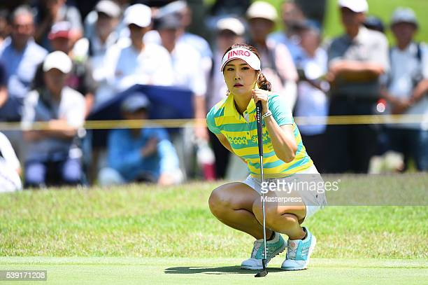 HaNeul Kim of South Korea lines up during the second round of the Suntory Ladies Open at the Rokko Kokusai Golf Club on June 10 2016 in Kobe Japan