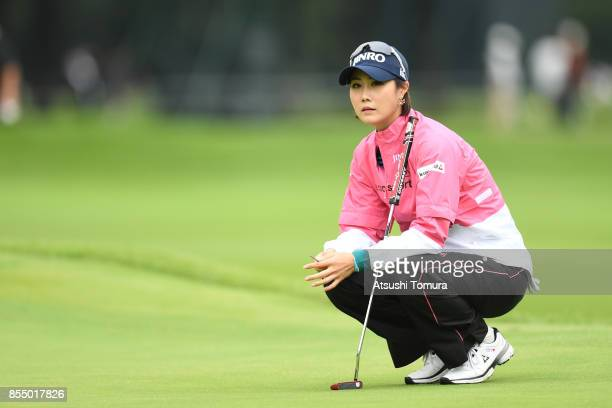 HaNeul Kim of South Korea lines up her putt on the 10th hole during the first round of Japan Women's Open 2017 at the Abiko Golf Club on September 28...