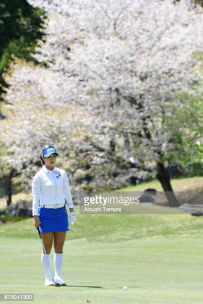 HaNeul Kim of South Korea lines up her second shot on the 9th hole during the final round of the CyberAgent Ladies Golf Tournament at the Grand...