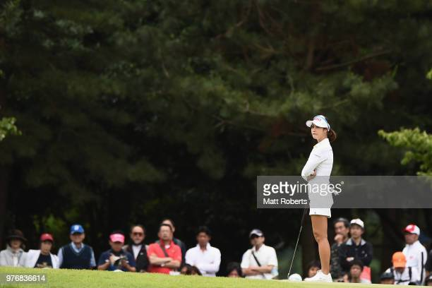HaNeul Kim of South Korea looks on during the final round of the Nichirei Ladies at the Sodegaura Country Club Shinsode Course on June 17 2018 in...
