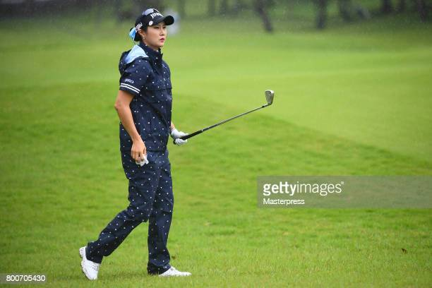 HaNeul Kim of South Korea looks on during the final round of the Earth Mondamin Cup at the Camellia Hills Country Club on June 25 2017 in Sodegaura...