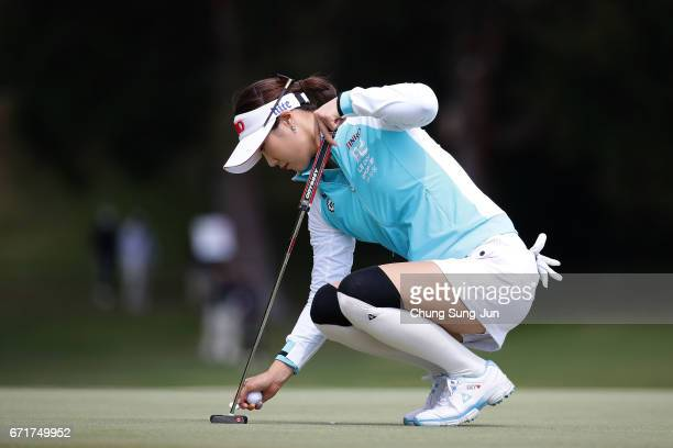 HaNeul Kim of South Korea on the 2nd green during the final round of Fujisankei Ladies Classic at the Kawana Hotel Golf Course Fuji Course on April...