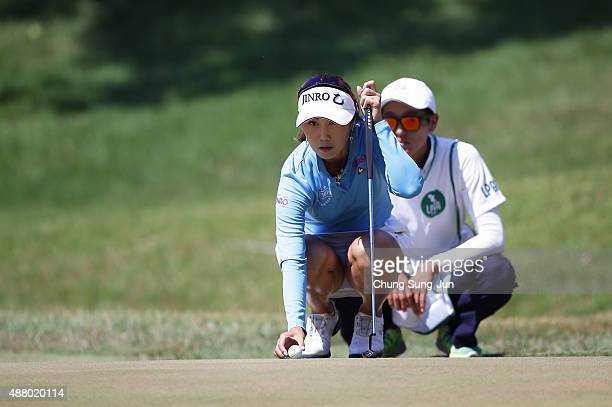 HaNeul Kim of South Korea on the seventh hole during the final round of the 48th LPGA Championship Konica Minolta Cup 2015 at the Passage Kinkai...