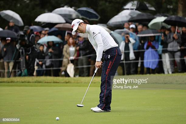 HaNeul Kim of South Korea plays a putt on the 18th green during the final round of the LPGA Tour Championship Ricoh Cup 2016 at the Miyazaki Country...