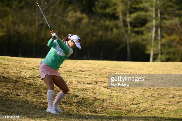 HaNeul Kim of South Korea plays her third shot on the 10th hole during the second round of the Studio Alice Women's Open at Hanayashiki Golf Club...