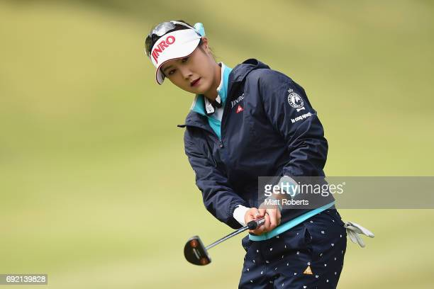 HaNeul Kim of South Korea putts on the 1st green during the final round of the Yonex Ladies Golf Tournament 2016 at the Yonex Country Club on June 4...