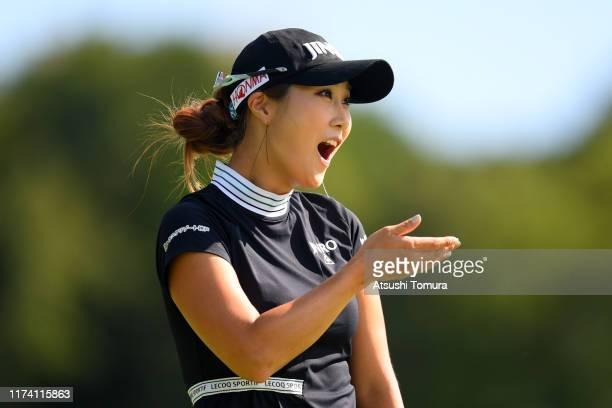 Ha-Neul Kim of South Korea reacts after holing a putt on the 10th hole during the first round of the 52nd LPGA Championship Konica Minolta Cup at the...