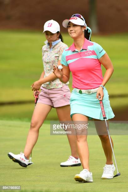 HaNeul Kim of South Korea reacts during the final round of the Suntory Ladies Open at the Rokko Kokusai Golf Club on June 11 2017 in Kobe Japan
