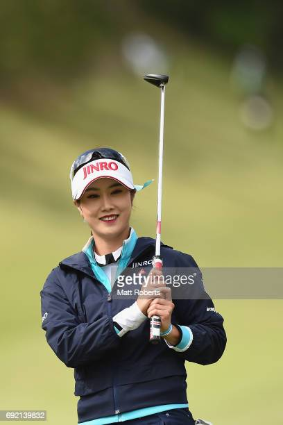 HaNeul Kim of South Korea smiles after her putt on the 1st green during the final round of the Yonex Ladies Golf Tournament 2016 at the Yonex Country...