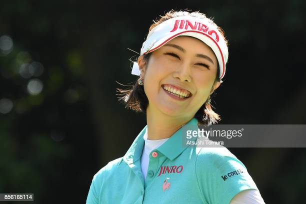 HaNeul Kim of South Korea smiles during the final round of Japan Women's Open 2017 at the Abiko Golf Club on October 1 2017 in Abiko Chiba Japan