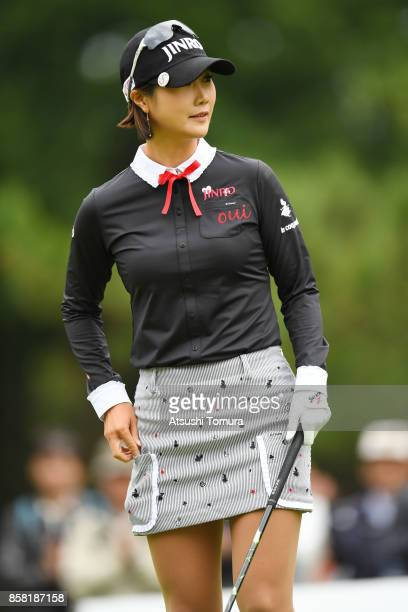 Ha-Neul Kim of South Korea smiles during the first round of Stanley Ladies Golf Tournament at the Tomei Country Club on October 6, 2017 in Susono,...