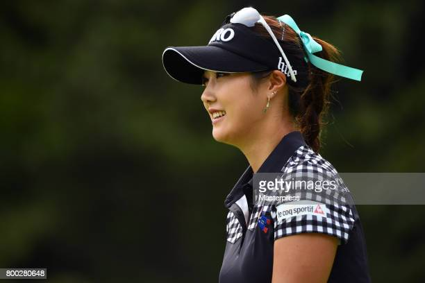 HaNeul Kim of South Korea smiles during the third round of the Earth Mondamin Cup at the Camellia Hills Country Club on June 24 2017 in Sodegaura...