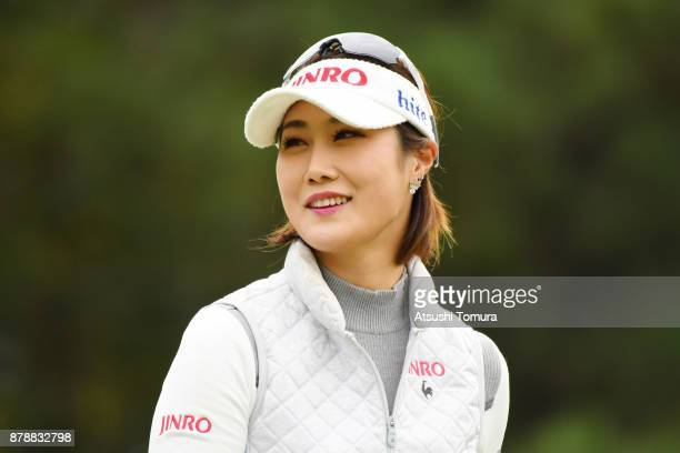 HaNeul Kim of South Korea smiles during the third round of the LPGA Tour Championship Ricoh Cup 2017 at the Miyazaki Country Club on November 25 2017...
