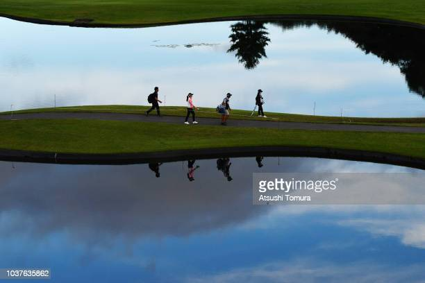 Ha-Neul Kim of South Korea walks on the 12th hole during the second round of the Miyagi TV Cup Dunlop Ladies Open at Rifu Golf Club on September 22,...