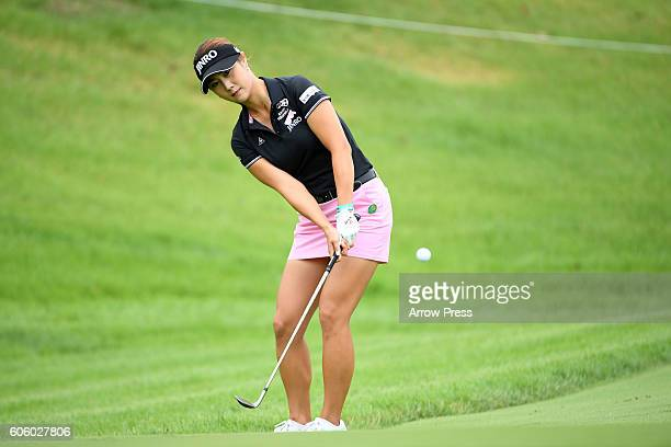 HaNeul Kim of Southkorea chips onto the 1st green during the first round of the Munsingwear Ladies Tokai Classic 2016 at the Shin Minami Aichi...