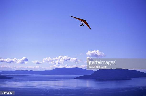 Hang glider in blue sky