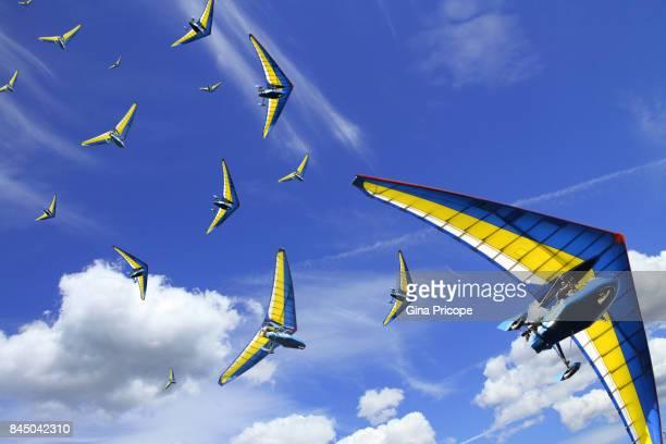 Hang glider multi-layered effect, Hungary.