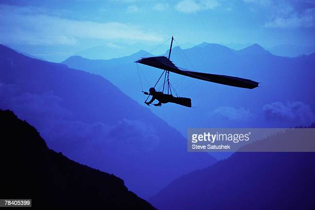 Hang glider over mountains