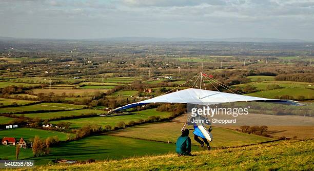 Hang Glider Taking Off. Sussex, January 7th 2012