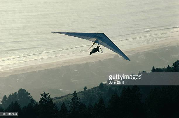 Hang gliding below Bolinas bridge in the Mt Tamalpais State Park, California, United States of America, North America