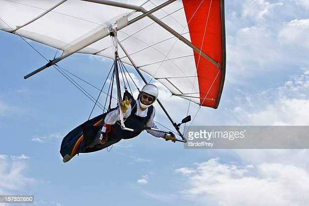 hang gliding flying overhead, closeup. - glider stock photos and pictures