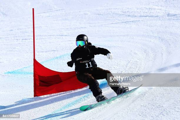 Hang Seung Park of Korea competes in the Men's Banked Slalom Upper Limb Imp final during the Winter Games NZ Para Snowboard Banked Slalom World Cup...