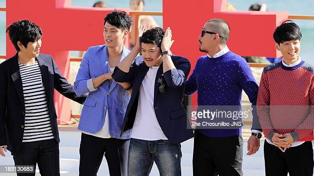 Hang SungChun Choi KyuHwan Lee JiHoon Ha JungWoo and Jung KyoungHo attend a outdoor greeting of 'Fasten Your Seatbelt' during the 18th Busan...