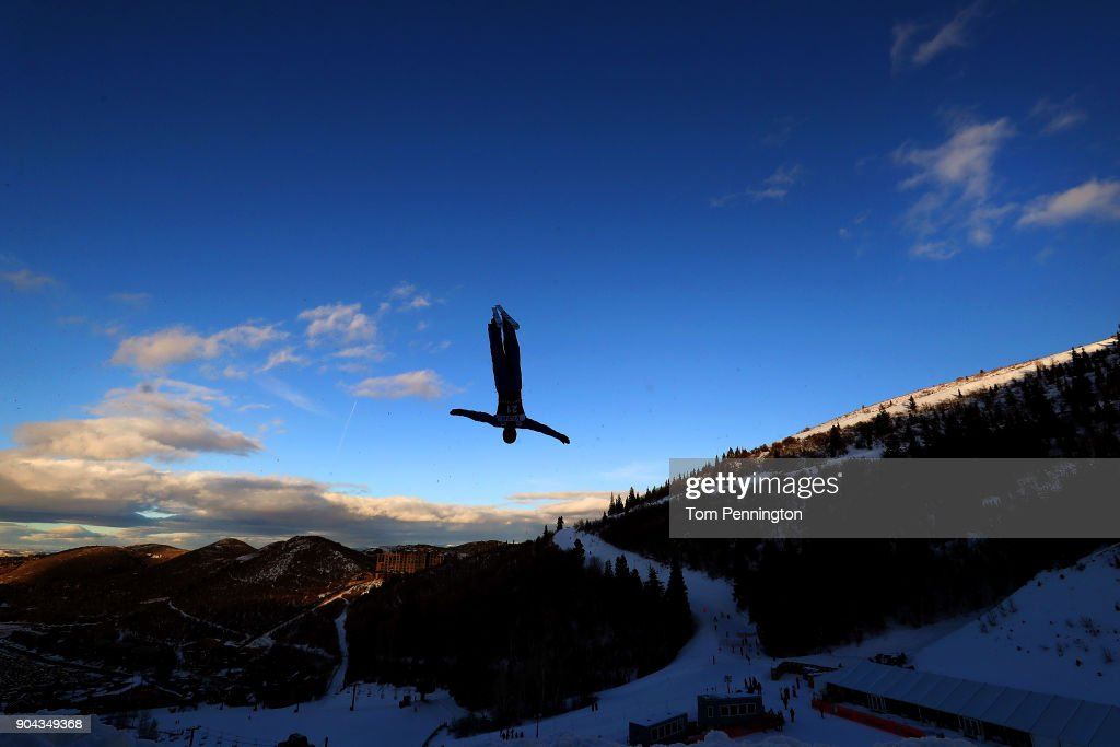 Hang Zhou of China competes in the Men's Aerials qualifying during the 2018 FIS Freestyle Ski World Cup at Deer Valley Resort on January 12, 2018 in Park City, Utah.