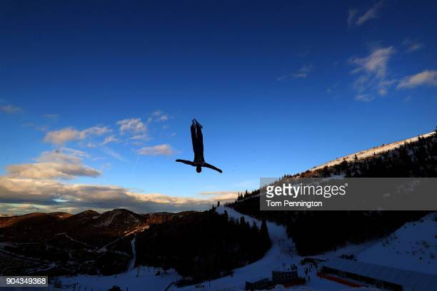 Hang Zhou of China competes in the Men's Aerials qualifying during the 2018 FIS Freestyle Ski World Cup at Deer Valley Resort on January 12 2018 in...