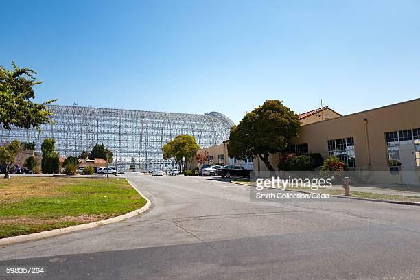 Hangar One visible behind buildings within the secure area of the NASA Ames Research Center campus in the Silicon Valley town of Mountain View...