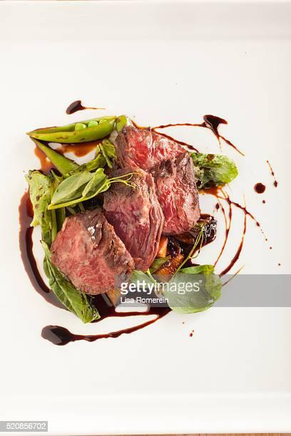 Hanger steak salad with fresh pea pods